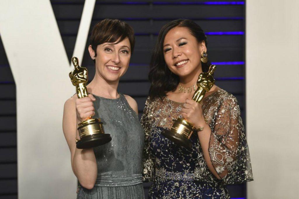 A la izquierda la productora del corto, Becky Neiman-Cobb, junto a la autora de Bao, Domee Shi. Ambas ganadoras del Oscar al Mejor Corto Animado 2019. Fuente: AP